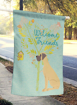 Welcome Friends Fawn Great Dane Natural Ears Flag Canvas House Size