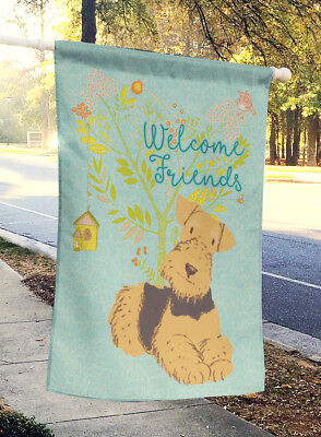 Welcome Friends Airedale Terrier Flag Canvas House Size