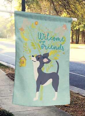 Welcome Friends Black White Chihuahua Flag Canvas House Size