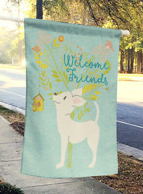 Welcome Friends White Chihuahua Flag Canvas House Size