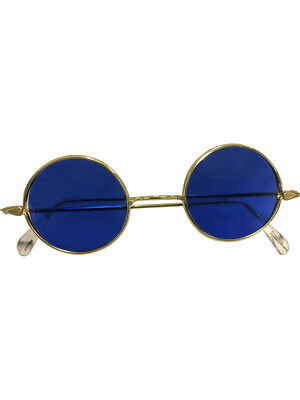 Adults Hippie Generation 60s 70s Blue Lense Glasses Costume Accessory