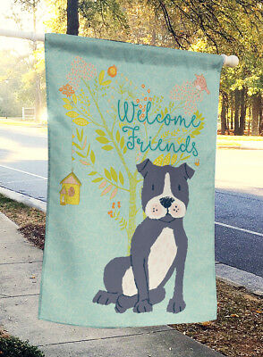 Welcome Friends Black Staffie Flag Canvas House Size
