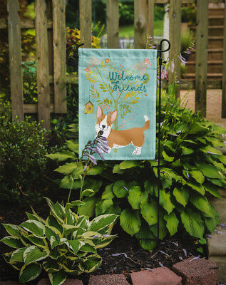 Welcome Friends Cardigan Welsh Corgi Tricolor Flag Garden Size