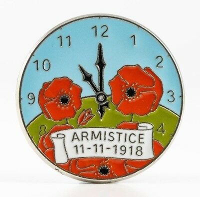 Ww1 1918-2018 Special Edition Armistice Wild Poppy Clock Face Remembrance Badge