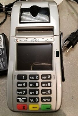 First Data FD130 Credit Card Terminal, 4 rolls paper
