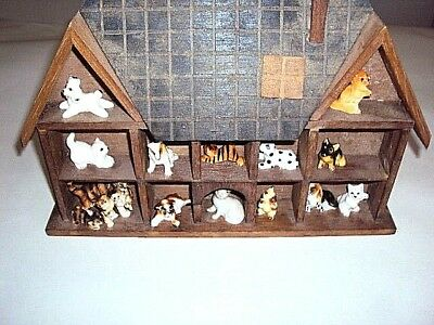 vintage porcelain cats and dogs lot of 15 with show case lot