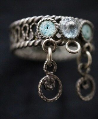 Ancient Viking Hammered Silver Finger Ring with Glass Detail, circa 950-1000 Ad.