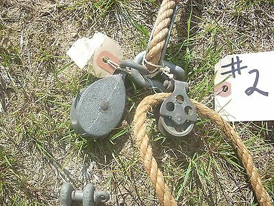 Vintage#2- Maritime rigging rope line 1/2in x 42ft. with pulleys, shackles