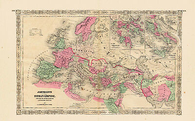 1867 Hand Colored Johnson Map of the ROMAN EMPIRE - Gorgeous - XLarge
