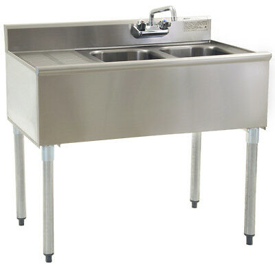 "Stainless Steel 2 Compartment Underbar Sink 36"" x 20"" with Left Drainboard"