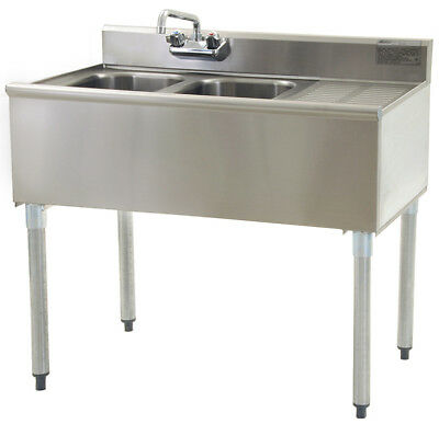 "Stainless Steel 2 Compartment Underbar Sink 36"" x 20"" with Right Drainboard"