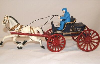 Vintage Cast Iron Police Chief and Horse Wagon Toy PD Blue and Red - White Horse