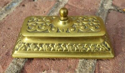 Vintage Victorian Style Solid Brass Stamp Holder / Inkwell Pot Tray Art Deco