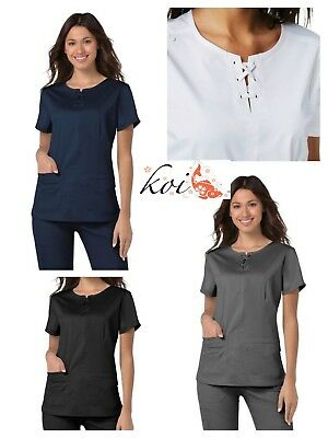 4fb4bf83579 New Koi Stretch Scrubs Missy Top 356 Fashion Navy-White-Black-Steel Color