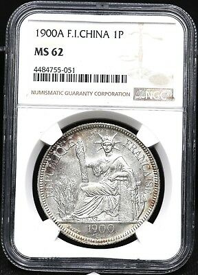 1900A Ngc Ms-62 One 1 Piastre French Indo-China