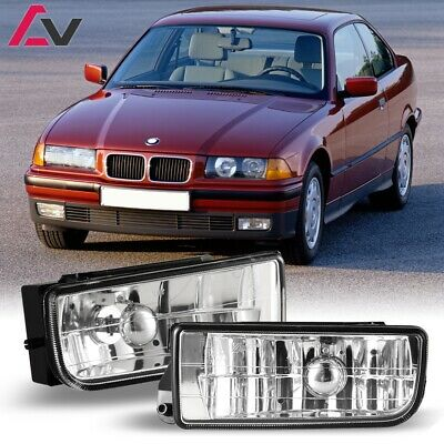 For BMW E36 92-98 Clear Lens Pair Bumper Fog Light Lamp OE Replacement DOT Bulbs