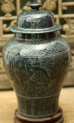 ZC Perfect Chinese porcelain general pot jar vase carved fish seaweed pictures