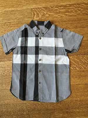 Burberry Kids Plaid Black White And Gray Cotton Short Sleeve Shirt Size 3