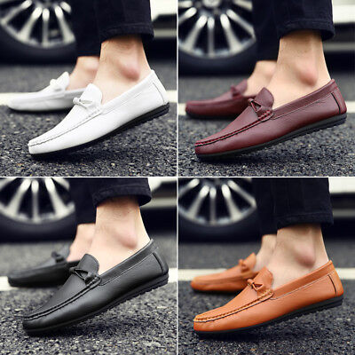 Men's Casual Leather Shoes Loafers Driving  Peas Lazy Slip on Moccasins Flats