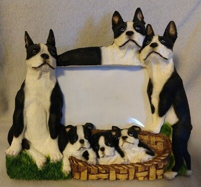 "Boston Terrier dog large picture frame - holds one 4"" x 6"" picture"