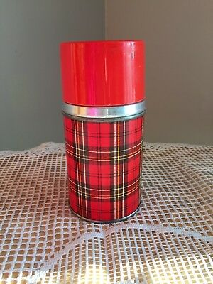 Vintage 10 Oz Aladdin Wide Mouth Thermos Bottle - Red Plaid