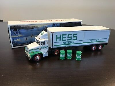 1987 Hess Truck Rare Smooth Tanks Barrel Gasoline Fuel Oils Bank With Box
