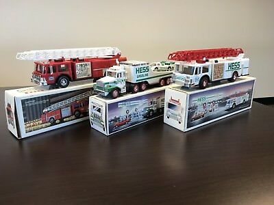 1986 1988 1989 Hess Fire Truck and Racer Lot of 3 with box