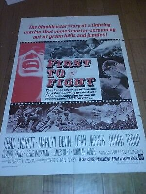 First to Fight (1967) Original Movie Film Poster 1 Sheet Chad Everett