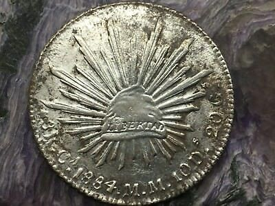 REPUBLIC OF MEXICO 8 REALES SILVER 1884 Ca MM CHIHUAHUA MINT
