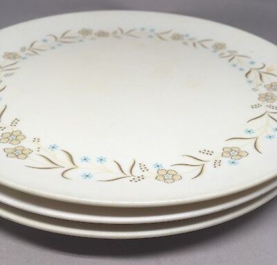 Vtg Royalon Melmac Dinner Plate Set Three Floral Blue Brown Border Melamine 310 & VTG ROYALON Melmac Dinner Plate Set Three Floral Blue Brown Border ...