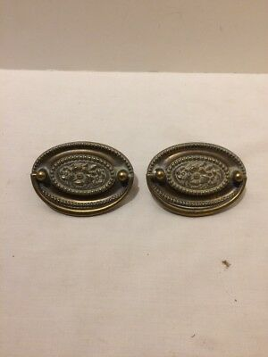 Pair of Brass Hepplewhite Floral Drop Bail Drawer Pull