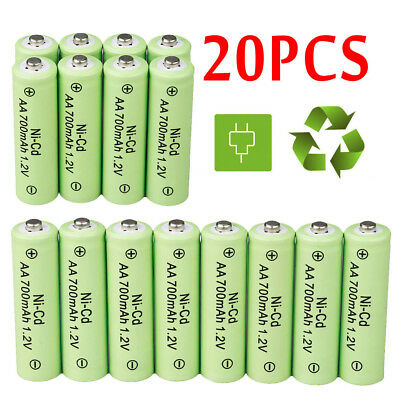 20 AA Rechargeable Batteries NiCd 700mAh 1.2v Garden Solar Ni-Cd Light LED US