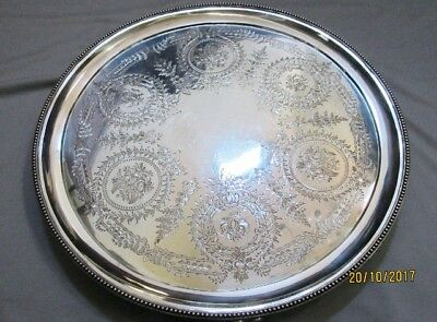 Antique Sterling Silver Salver/platter By Barnard & Sons, London, 1,132 Grms