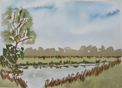 WATER colour HAND painted COUNTRYside TREES broads SKY browns BLUES art HOBBY