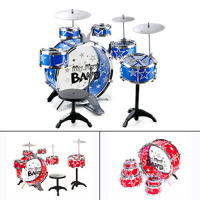 16Pc Rock Drum Kit Childrens Cymbal Music Percussion Playset Stool Toy Gift UK