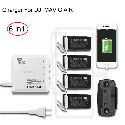6 In1 Rapid Dual USB Battery Remote Charger Hub Parallel For DJI MAVIC AIR Drone