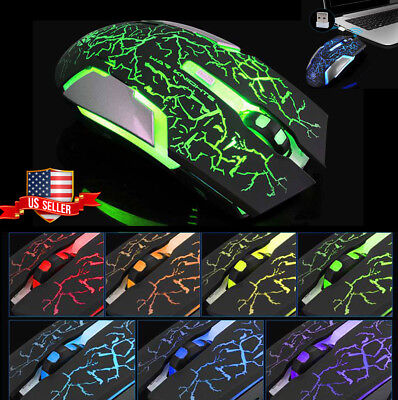Ergonomic Wireless Gaming Mouse LED Optical Mouse + USB Receiver for Laptop PC