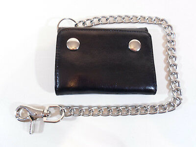 NEW Black Genuine Leather Chain Wallet Mens Trifold Faded Glory Snaps zip