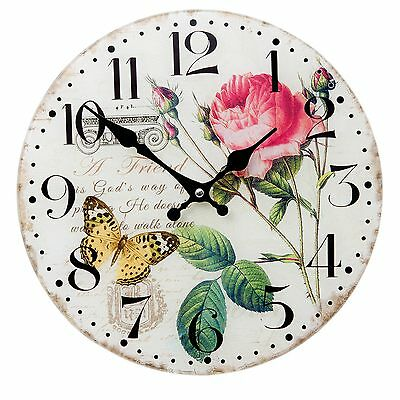 Clayre&eef Wall Clock Glass Decor Country House Vintage Shabby Rose Shabby Chic
