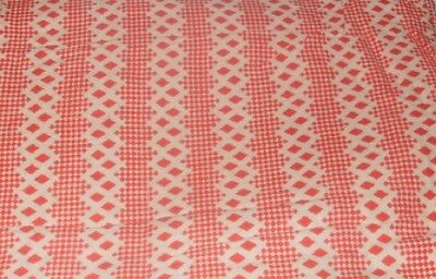Rows of Red Gingham & Red Ric Rac Vintage Still Sewn Feedsack