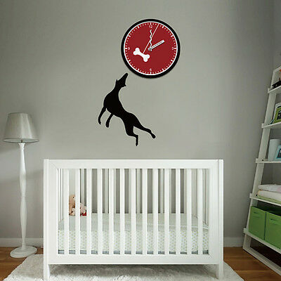 New Unique DIY Stick on the Wall Clock In Cool Dog and Bone Dog Lovers Ideal