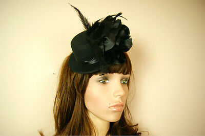 Black Miniclip Hat Flowers Ladies Womens Wedding Races Fascinator Clipper Veil