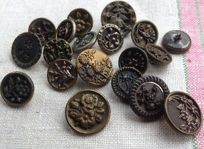 Lot of 19 Small Antique Victorian Brass & Steel Picture Buttons-Flowers-Leaves+