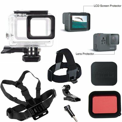 Underwater Case Chest Strap LCD Screen Protector Set for GoPro Hero 6 5 Camera