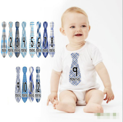 24pcs Baby Boy Infant Monthly Stickers Photo Props Baby Shower Decor 1-12 Months