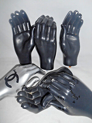 "Vintage Mannequin Hands Lot - 3 Right 3 Left Adult Hands Used Chanel ""Steampunk"""