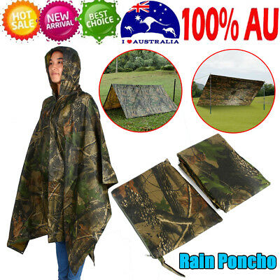 New Waterproof Army Hooded Ripstop Festival Rain Poncho Military Camping Hiking