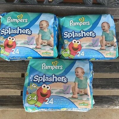 72 PC Pampers Splashers Disposable Swim Diapers Pants Size 3-4 Weight 16-34 LB