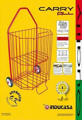 Folding Shopping Cart Carry All >50kg (110lb) Two Level Frame Italian Quality
