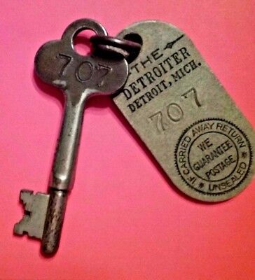 THE DETROITER HOTEL ANTIQUE KEY & FOB Book Cadillac Hotel Detroit Michigan